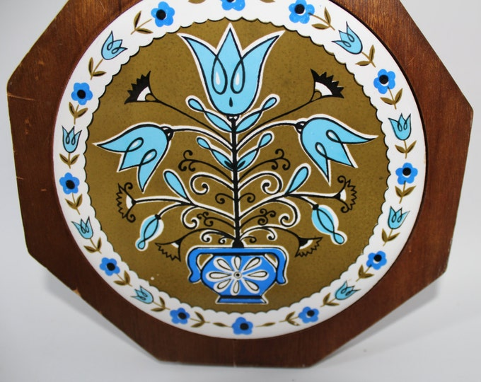 Vintage Wooden and Ceramic Trivet