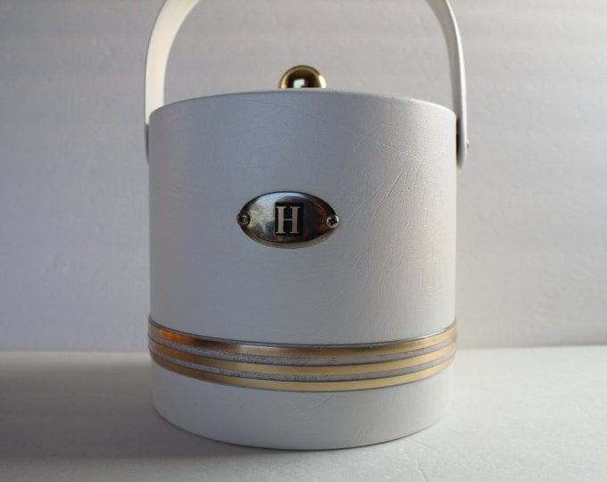 Ice Bucket in White and Gold