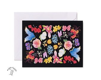 Botanical Flowers Illustrated Notecard Set- A2- Black - Blank, Card and envelope set, Stationary set