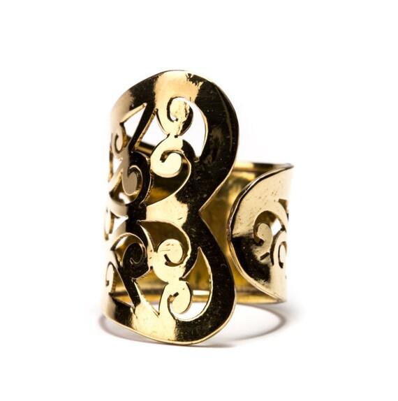 Adjustable Filigree Brass Ring, Handmade, Boho Rings, Tribal Jewellery Gift Boxed + Gift Bag , Free UK Delivery