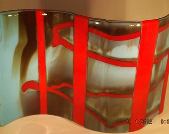 Red River, fused glass wave