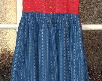 Vintage Austrian Octoberfest Folk Floral Pattern Cotton Dress Size EU 40 /UK 12