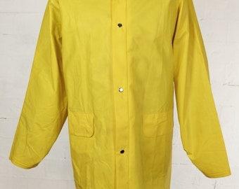 Vintage Yellow Fisherman Coat Jacket Anorak Waterproof Rain Mac Mens Large