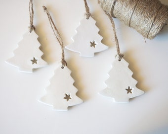 Set 4 Christmas tree ornaments - Minimalist Christmas decorations - Scandinavian Christmas decor - Rustic Christmas decor - Nordic Christmas