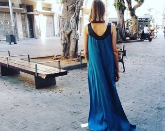 ON SALE ADERET Turquoise Maxi Dress, Oversized Dress, Long Satin Silk Dress, Bohemian Dress, Prom Dress, Evening dress