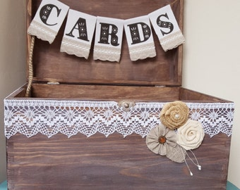Wedding Cards Rustic Box Holder with Burlap and Lace Cards Banner Wooden Chest Shabby Chic Flowers