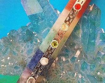 """Large Stocky 4.5""""  Six-Sided CHAKRA CRYSTAL WAND with 7 Chakra Stone Cabochons, Reiki, Amethyst, Lapis Lazuli, Carnelian"""