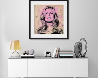 Kate Moss by Mr Brainwash Art Print