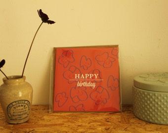 Floral print Happy Birthday Card