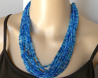 Blue necklace, multi-stand necklace for her, seed bead necklace for women, summer necklace statement necklace short blue necklace for spring