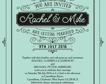 Personalised Mint Green Elegant Vintage Wedding Invitation with envelope