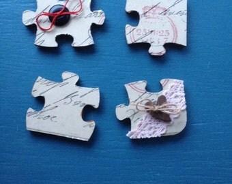 Wooden Jigsaw Puzzle Piece Fridge Magnets X4