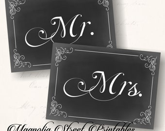 Printable Mr. and Mrs. Signs, 5 x 7 Mr. and Mrs. Signs, Wedding Mr. and Mrs. Signs, Mr. and Mrs. Chair Signs, Chalkboard Mr. and Mrs. Signs