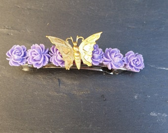 Hair clip Butterfly on roses 0005