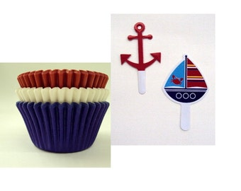 Nautical Cupcake Picks with 12 Solid Color Baking Cups