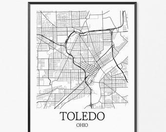 Toledo Map Art Print, Toledo Poster Map of Toledo Decor, Toledo City Map Art, Toledo Gift, Toledo Ohio Art Poster