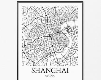 Shanghai Map Art Print, Shanghai Poster Map of Shanghai Decor, Shanghai Map Art, Shanghai Gift, Shanghai China Art Poster