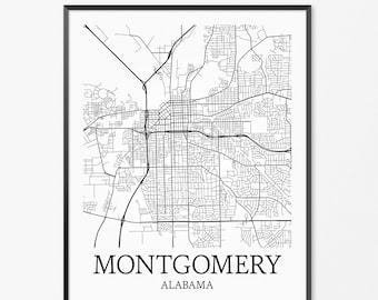 Montgomery Map Art Print, Montgomery Poster Map of Montgomery Decor, Montgomery City Map Art, Montgomery Gift, Montgomery Alabama Art Poster