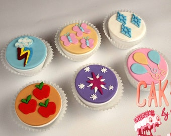 My Little Pony Cutie Marks Fondant Cupcake Toppers: Set of 6 (MADE TO ORDER)
