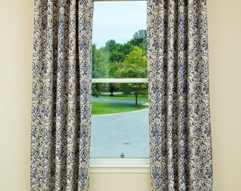 Custom Drapery,Window Treatment,Curtains,Panels Made with Lining, English Pleat, Made to Order, *Medallion*