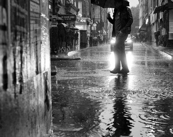 London photography, rain photography, street photography, raining, London print, London decor, black white, London wall art, rainy day, UK