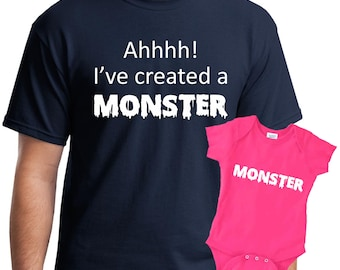 Personalized mens, dad and baby matching shirts, monster shirt, dad gift, father gift, husband gift, daddy and son, daddy daughter shirts