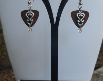 Brown Metal and Silver Layered Earrings
