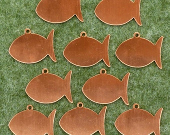 Enamelling: 10 x Copper Blank.  Plain Fish Shape