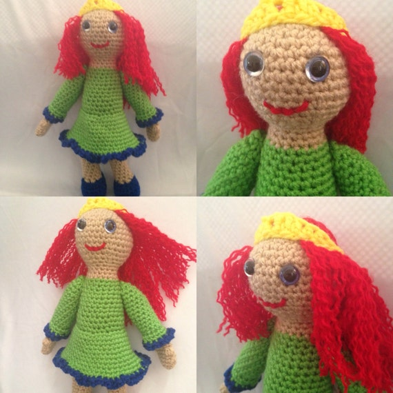 "Princess Doll with Red Hair Blue Eyes Green Dress Poseable Arms, Redhead Doll, Handmade Doll, Girl Doll, Soft Yarn Doll 11"", Waldorf Doll"