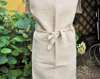 Vintage French Workwear / Gardening Full Apron / Antique French Pure Linen String Color /DIY Protective Apron /