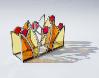 Fall vertical napkin holder, Stained glass napkin holder