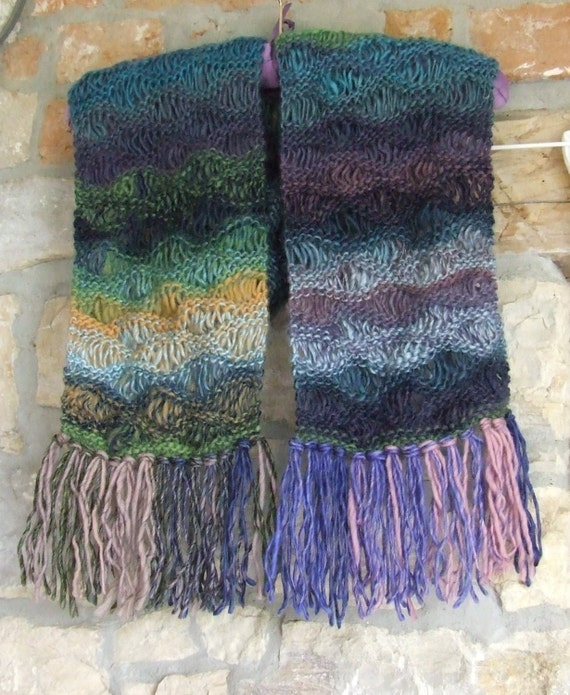 Knit Drop Stitch Shawl Pattern : Multi knit scarf Drop stitch scarf Wavy pattern by WoolieBits