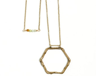 Brass Necklace Long Chain Necklace Beaded Necklace Geometric Jewelry Hexagon Shape Necklace Long Gold Chain Natural Twig Brass Jewelry