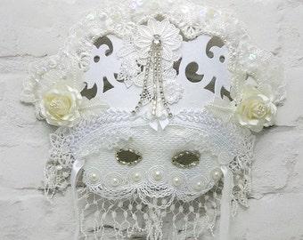 Masquerade Ball Mask, Masquerade Centerpiece, Mardi Gras Mask, Masquerade Ball Masks, White Lace Mask, Masquerade Accessory, Party Mask