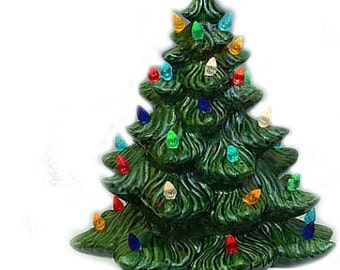 """Elegant Handmade 16"""" Lighted Green Glazed Ceramic Christmas Tree"""