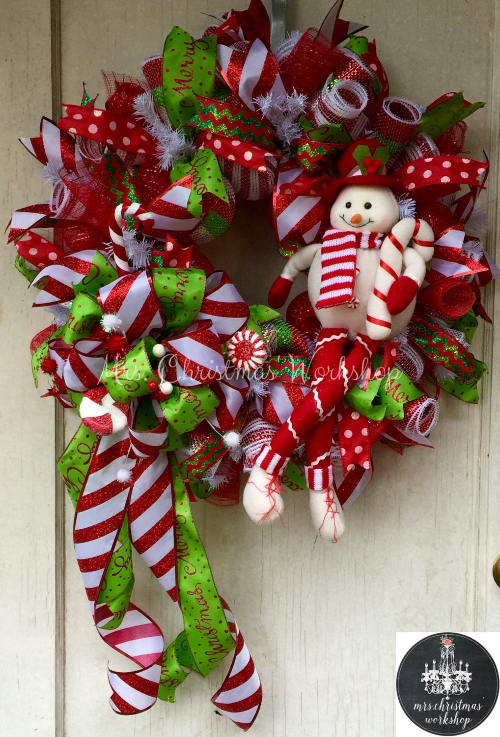 Candy Cane Christmas Wreath Deco Mesh Wreath Snowman Candy