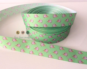 """1"""" Green-Pink-Vintage-Floral-Flower- Bubble gum-Grosgrain Ribbon by the Yard for Hairbows- Scrapbooking- Craft Projects- DIY-Houndstooth"""