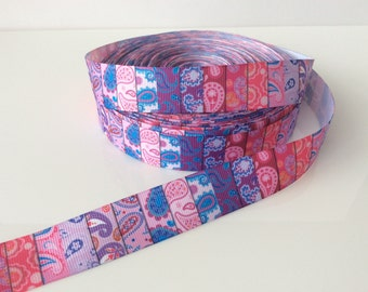 Paisley pink, purple and blue-stripe-ribbon-7/8 Inch Grosgrain Ribbon by the Yard for Hairbows-Gift Wrap-DIY