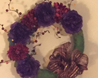 Large Peonie Wreath with Green Leaves