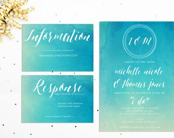 Watercolor Beach Wedding Invitation, Printable Wedding Invitation Suite, Beach Wedding Invite