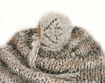 Newborn photo prop knitted bonet - newborn bonet - knited bonet - knitted hat - baby bonet - baby girl bonet -baby boy bonet -chunky blanket