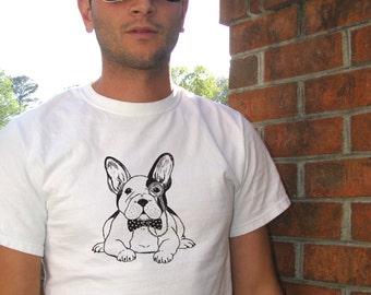 French Bulldog, Frenchie shirt, Mens tees, Mens tshirt, Dog shirt, Animal Shirt, Funny shirt, Animal Print, Dapper, French bulldog art