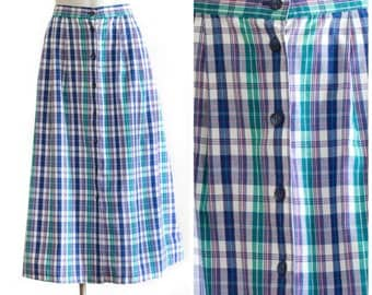 Long purple and blue plaid button up skirt