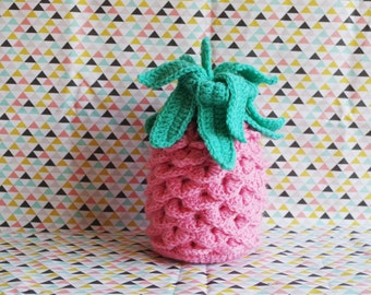 Pink and green decorative pineapple crochet