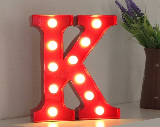 Vintage Carnival Style Marquee Light, Light up Letter K - Battery Operated/Various Colours - Perfect Night Light/Gift/Wedding Decor