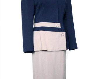 1940s Womens Suit | 2 Tone Gabardine 40s Suit | Vintage 40s | Color Block Skirt Suit | WW2 Womens Suit | Size 8-10 Navy Grey