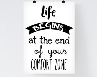 Inspirational Quote Printable 'Life begins at the end of your comfort zone' Typographic Printable Courage Quote Motivational Fitness Quote