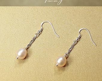 Genuine Freshwater Pearl earrings, Peach Pink dangle earrings, 925 Sterling Silver hooks, Bridal and bridesmaids earrings, InfinityCraftArts