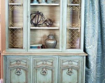 SOLD - Vintage Blue China Cabinet