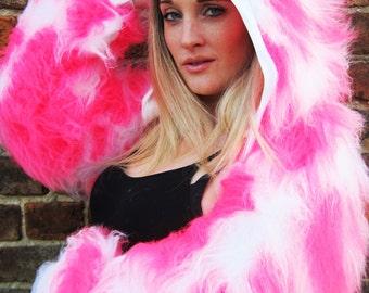 Funki-B ANY COLOURS faux fur fluffy camo bright neon long pile fur hoody jacket top rave clubwear fancydress